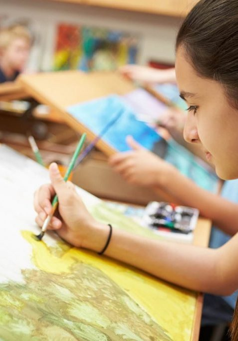 a girl painting